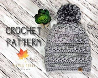 MESSY BUN HAT Crochet Pattern / Crochet Hat Pattern / Crochet Pattern / Ponytail Hat Pattern / Crochet Beanie Pattern / Bayfield Beanie