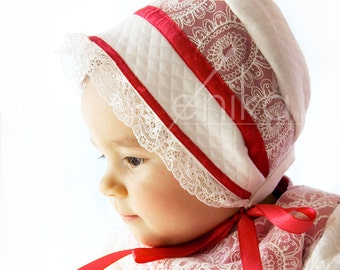 baby bonnet ivory and raspberry red