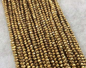 """3mm x 4mm Faceted Metallic Opaque Deep Gold Chinese Crystal Rondelle Shaped Beads - Sold by 17"""" Strands (Approx. 131 Beads) - (CC34-105)"""