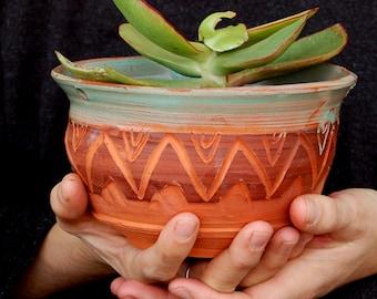 Cactus planter, Outdoor succulent planter, succulent pot, Tribal pottery, ceramic hanging planter, indoor office planter, cactus plant