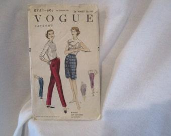 Vogue pants pattern, Vogue pattern, 1950's slacks pattern, Vintage sewing pattern, 1955 Vogue pattern, Vogue pedal pushers, Shorts pattern