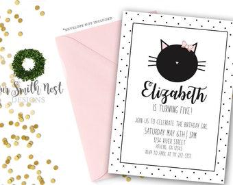 Kitty Cat Birthday Invitation, Printable, Childrens Party Theme, Cat Theme, Polka Dot Cat