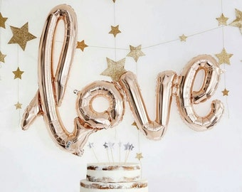 "30"" love Balloons  l  Bridal Shower Balloons  l  Rose Gold Love Balloons  l  Bachelorette Party  l  Wedding Balloons  l  Love Script Balloon"