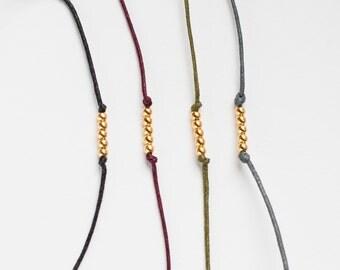 Gold Bead Cotton Bracelet - simple minimal design - Black/olive green/grey/raspberry red - friendship bracelet