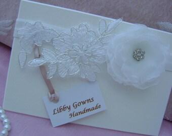 A Pretty White Christening/Wedding Headband - lace, flower, Rhinestones