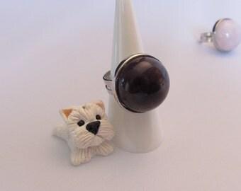 Smoky quartz fully adjustable ring