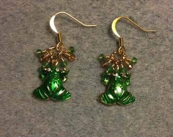 Green enamel frog charm earrings adorned with tiny dangling green and amber Chinese crystal beads.