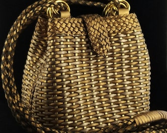 CEM Woven Leather Metallic Gold and Silver Cross Body Handbag, Made in Brazil