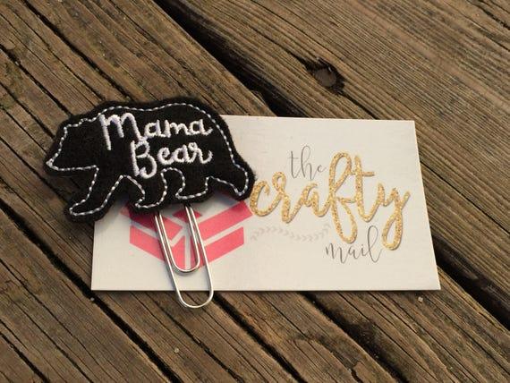 Mama Bear Silhouette Clip/Planner Clip/Bookmark.
