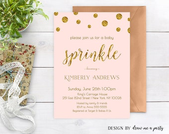 Baby Sprinkle Invitation Girl , Pink and Gold Baby Shower Invitation , Gold Glitter , Polka Dots , Printable , Personalized , JPEG or PDF