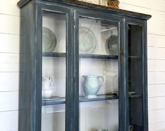Sold!!    Dark grey/blue farmhouse painted hutch, rustic painted china cabinet