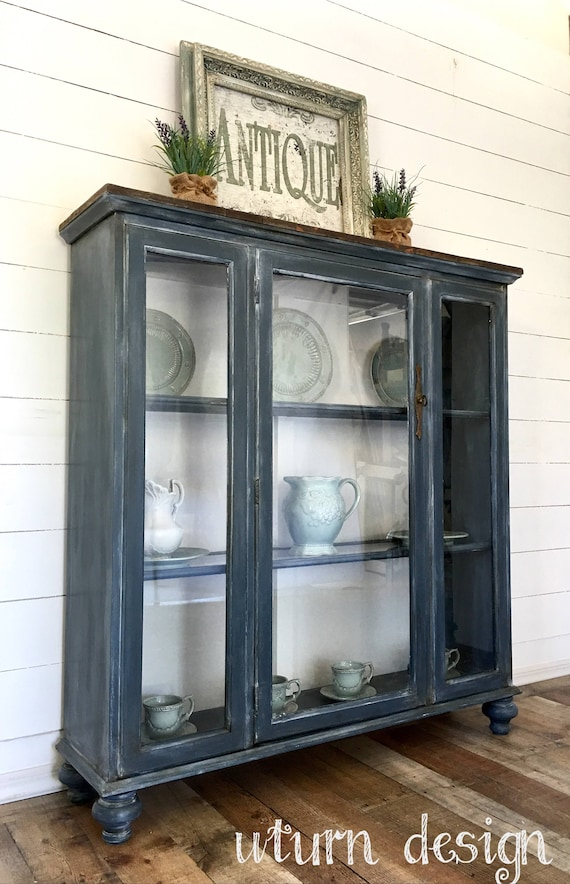 grey china cabinet items similar to sold grey blue farmhouse painted 16083