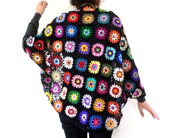 Bohemian black and multicolored crochet shawl
