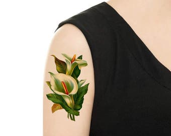 TEMPORARY TATTOO - Calla Floral Tattoo - Various Patterns