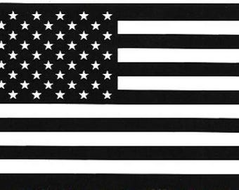 American Flag Vinyl Sticker / Decal, Stars & Stripes, Black and White, National Pride, USA, America
