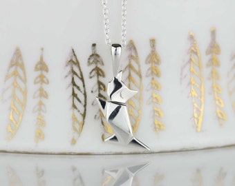 Stunning Silver Origami Cat Necklace