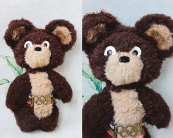 MISHA Stuffed Bear Toy / Rare 1980 Moscow Olympics Mascot, 12,5'' Soviet Brown Mohair Toy / Original USSR Mishka Teddy, Rainbow Belt Emblem