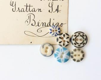 Antique china stencil buttons blue design primitive buttons