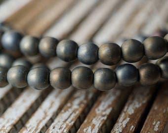 Gray Iris, Druk Beads, Czech Beads, Beads