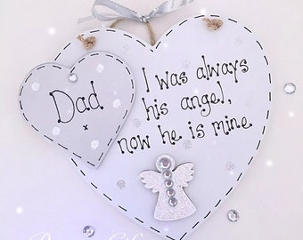 Personalised indoor bereavement keepsake angel heart plaque 'I was once his angel now he is mine'