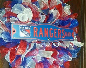 Rangers Wreath, New York Rangers, Hockey, NY Rangers, Hockey Wreath