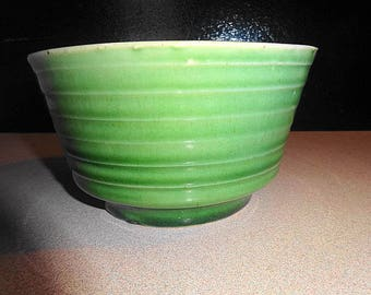 "Brush Pottery Green Ribbed 6"" Mixing Bowl or Planter USA"