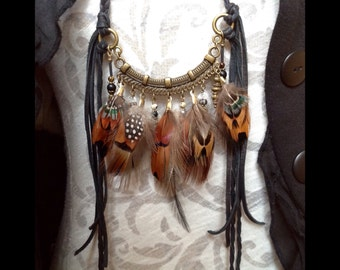 real feather beaded leather fringe festival jewelry tribal necklace rustic unique