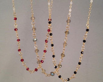 A Dozen Gemstones Necklace, garnet, labradorite, spinel, red, flashy, black, gold, rose gold, silver, beaded, wire wrapped, rosary, chain
