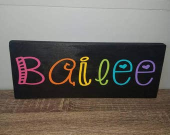 Name sign, room decor, kids room decor, personalized, rainbow