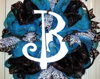 Monogram animal print wreath, initial wreath, mesh monogram wreath, zebra wreath, personalized wreath, custom made wreath, initial wreath
