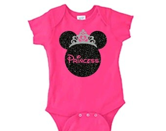 Disney Princess Onsie/Princess Onsie/Glitter Disney Onsie/Disney Family Vacation Shirts/Onsie bodysuit outfit.  Pink Baby Princess Onsie