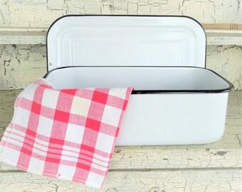 White and Black Enamel Pan, Refrigerator Pan with Lid, Vintage Enamel Rectangle Pan