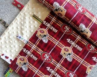 San Francisco 49ers Sensory Baby Blanket, Sensory Baby Blanket, Ivory Minky Blanket, I Spy Baby Blanket, Baby Shower Gift, NFL Baby Blanket