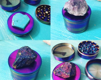 Gemstone Herb Grinder - Used to Grind up herbs // Available in Amethyst Druzy, Blue Howlite, Peacock Ore, Green Calcite, Rose Quartz, etc