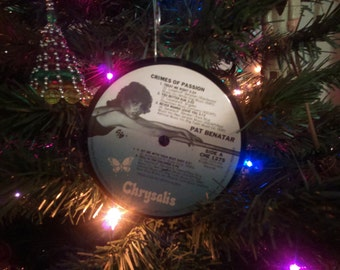 PAT BENATAR Crimes of Passion (1980) Ornament Vinyl Record Album Upcycled Recycled Christmas