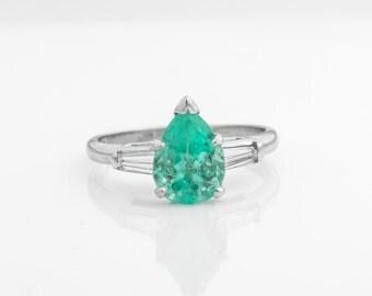 Circa 1948 Retro-Vintage Pear-Cut 1.75ct Columbian Emerald & Diamond Ring, Platinum Crafted, ATL #308