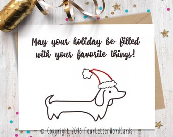 Funny Holiday Card, Funny Christmas Card, Dog Lover Gift, Wiener Dog Card, Holiday Cards, Christmas Cards, Funny Greeting Card, Happy Holida