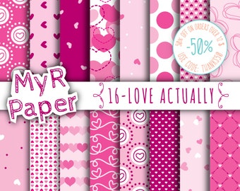"""Love digital paper: """"LOVE ACTUALLY"""" pack for valentine's day with sweets hearts in pink patterns, purple and light pink, valentine"""