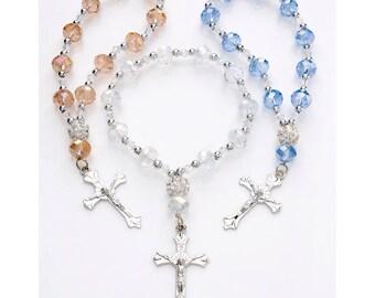 SALE! 10 pieces-Baptism Rosary Favors, Mini (Real) Crystal Rosary Baptism Favors, Communion Favors , Baptism favor