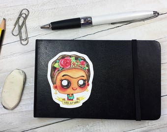 Frida Kahlo Cute Stickers - Watercolor Artwork - Frida Lover Gift Feminist Gift - Ecofriendly Woven Fabric, Stick and Stack, Waterproof