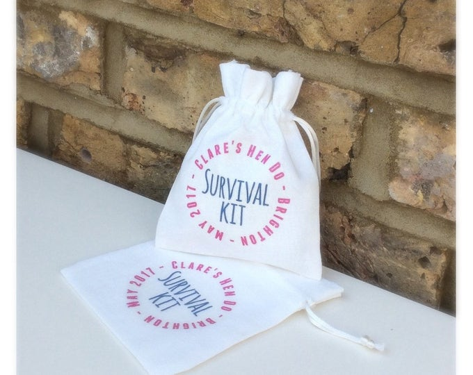 Personalised Favour Bags Hangover Helper, survival kit hen do or Wedding pouches, any wording & colour font...Sweets, Favours, baby Shower