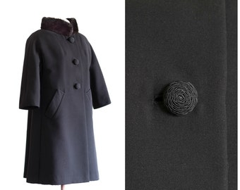 1960s black a line coat with mink collar