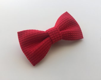 Red bow tie. Red textured bow tie. Baby bow tie. Clip on bow tie.