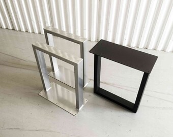 "13"" x 16"" Black/White/Chrome Powder Coated Steel Metal Bench Legs, Coffee Table U Legs SET(2)"