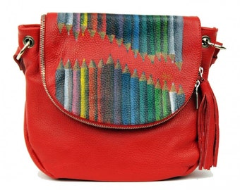 Hand Painted Fine Grain Leather Purse - Fayette Crayon 2 Red Messenger Bag by Lyria.r