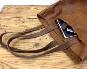 Sale!!! Leather Tote bag Brown Soft leather tote Handbag Large Front Pocket tote bag Leather shopper tote purse Shopper Tote bag
