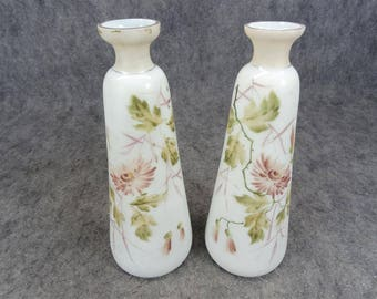 Pair Of Bristol Victorian English Enameled Vases C. 1800'S