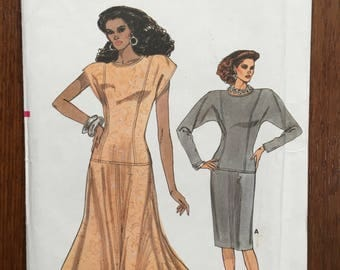 Vogue 9939 Easy Vogue dropped waist, straight or flared dress Size 14-18 UNCUT 1987