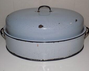 Vintage Savory Double Wall Enamelware Roaster Light Blue XLarge Retro