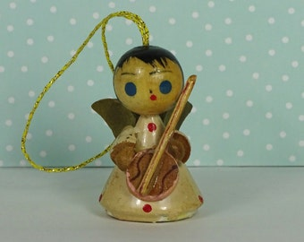 Vintage angel Christmas ornament banjo cream 1950s